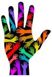 Verschiedenartigkeit-Regenbogen-Hand Stockfoto