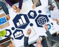 Verschiedenartigkeits-Geschäfts-Team Planning Board Meeting Strategy-Konzept lizenzfreie stockfotografie