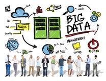Verschiedenartigkeits-Leute-großes Daten-Anteil-Digital-Gerät-Konzept stockbild