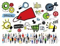 Verschiedenartigkeits-zufällige Leute, die Team Aspiration Goal Concept brandmarken lizenzfreie stockfotos