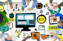 Verschiedenartigkeits-zufälliges Leute-Webdesign-Sitzungs-Brainstorming-Konzept Lizenzfreies Stockbild