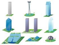 verschiedene Abbildung der Gebäude- Stockfotos
