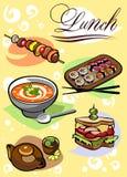 Verschiedene Abbildungen der Nahrung für das Mittagessen Lizenzfreies Stockfoto