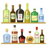Verschiedene alkoholische Getränke in den Flaschen Alkoholflaschengetränkwhisky und -champagner, Wodka und Martini, Weinbrand und lizenzfreie abbildung