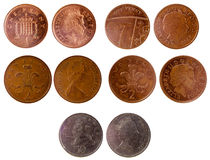 Verschiedene alte britische Münzen Lizenzfreie Stockfotografie
