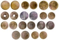Verschiedene alte spanische Münzen Lizenzfreie Stockbilder