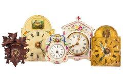 Verschiedene alte Uhren lokalisiert auf Weiß Lizenzfreie Stockfotos