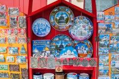 Verschiedene Andenken mit Bildern von Marksteinen von Veliky Novgorod, Russland Lizenzfreie Stockfotografie