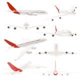 Verschiedene Ansichten des Flugzeuges getrennt auf Weiß lizenzfreie stockfotografie