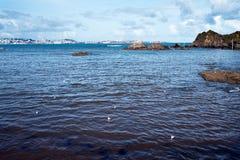 Verschiedene Ansichten eines Strandes von einem Sommerurlaubsort im La Coruna bellen Lizenzfreie Stockfotos