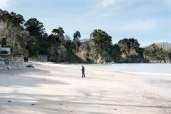 Verschiedene Ansichten eines Strandes von einem Sommerurlaubsort im La Coruna bellen Lizenzfreies Stockfoto