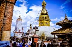 Verschiedene Ansichten von Stupa kitschiges Shyam Ponat u. x28; Swayambhunath& x29; oder M Lizenzfreies Stockfoto