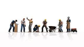 Verschiedene Arbeitskräfte mit ihren Werkzeugen - lokalisiert auf weißem Hintergrund lizenzfreie abbildung
