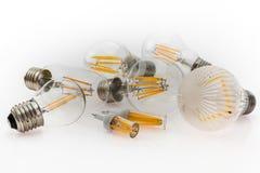 Verschiedene Arten der Leistung von E27- und G4-LED Birnen mit differe Lizenzfreies Stockfoto