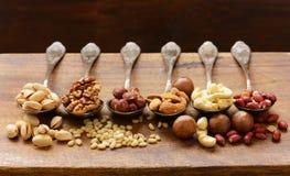 Verschiedene Arten der nuts Zeder, Acajoubaum, Haselnüsse, Walnüsse Lizenzfreie Stockfotos