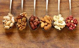 Verschiedene Arten der nuts Zeder, Acajoubaum, Haselnüsse, Walnüsse Stockfotografie