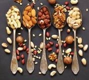 Verschiedene Arten der nuts Zeder, Acajoubaum, Haselnüsse, Walnüsse Stockbilder