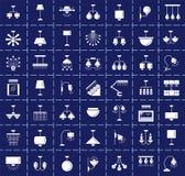 Verschiedene Arten der Wand, der Decke, der Tabelle und der Stehlampen modern lizenzfreie abbildung