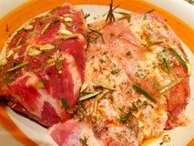 Verschiedene Arten des frischen rohen Fleisches Stockbild