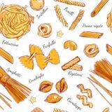 Verschiedene Arten des italienischen Musters der Teigwaren nahtlosen von Teigwaren Vektorhand gezeichnete Abbildung Gegenstände a Lizenzfreie Stockfotos
