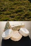 Verschiedene Arten des Käses auf einem hölzernen Hintergrund verschiedene Käse auf einem schwarzen Hintergrund Lizenzfreie Stockfotos