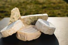 Verschiedene Arten des Käses auf einem hölzernen Hintergrund verschiedene Käse auf einem schwarzen Hintergrund Stockbilder