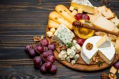 Verschiedene Arten des Käses - Briekäse, Camembert, Roquefort und Cheddarkäse auf hölzernem Brett Lizenzfreie Stockbilder