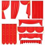 Verschiedene Arten des Theaterhauptvorhangs und drapiert in der roten Velour-Vektor-Sammlung Stockbilder