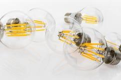Verschiedene Arten einer Leistung von LED-Birnen mit unterschiedlicher Zahl Lizenzfreie Stockfotos