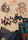 Verschiedene Arten Gemüsesamen, Schaufel, Rührstange und schwarze Gartenhandschuhe Stockbild