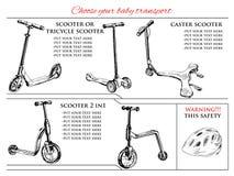 Verschiedene Arten Roller und Balancenfahrrad Stockbilder