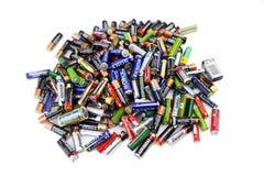Verschiedene Arten von den benutzten Batterien bereit zur Wiederverwertung Lizenzfreies Stockfoto