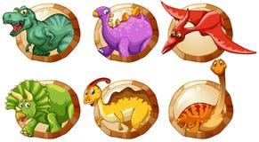 Verschiedene Arten von Dinosauriern auf runden Knöpfen Stockfotografie