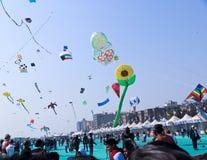 Verschiedene Arten von Drachen - 29. internationales Drachenfestival 2018 - Indien Lizenzfreie Stockbilder