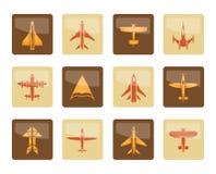 Verschiedene Arten von flachen Ikonen über braunem Hintergrund stockfotografie