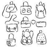 Verschiedene Arten von Frauen ` s Taschen ENV 10 Stockbilder