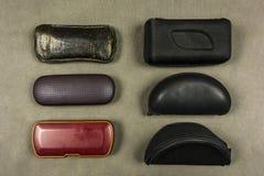 Verschiedene Arten von Glaskästen stockbild