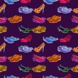 Verschiedene Arten von Herren ` s und Dame ` s von Schuhen, Aquarellillustration in der rosa, blauen, grünen, braunen hellen Neon vektor abbildung
