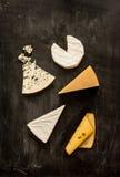 Verschiedene Arten von Käsen (Camembert, Briekäse, Parmesankäse, Blauschimmelkäse) von oben Lizenzfreie Stockfotos