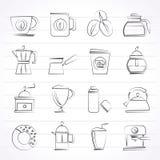 Verschiedene Arten von Kaffeeindustrieikonen Stockbild