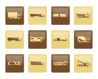 Verschiedene Arten von LKW- und Lastwagenikonen über braunem Hintergrund Lizenzfreie Stockfotos