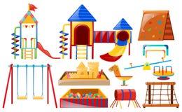 Verschiedene Arten von playstations am Spielplatz Stockbild