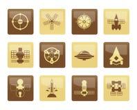 Verschiedene Arten von zukünftigen Raumfahrzeugikonen über braunem Hintergrund Stockbilder