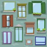 Verschiedene Artfenster des nahtlosen Musteresprits, die auf Gebäude zeichnen Stockfotos