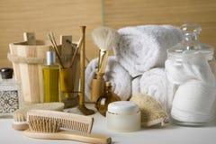 Verschiedene Badezimmerprodukte Stockfoto