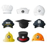 Verschiedene Beruf-Hüte Stockbilder