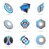 Verschiedene blaue abstrakte Ikonen, Set 3 Stockbild