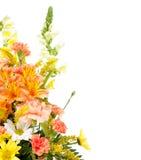 Verschiedene Blumen angeordnet im Korb auf Weiß Stockbild