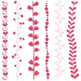 Verschiedene Blumenstreifen der abstrakten Kunst sechs. Stockbilder