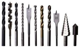 Verschiedene Bohrer für Metall, Holz und Maurerarbeit stockfotografie